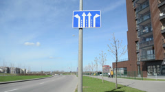 Information road sign arrow indicates the direction of travel Stock Footage