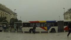 Bus Station in Thessaloniki, Aristotelous square. Stock Footage