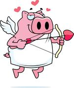 Pig Cupid - stock illustration