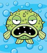 Blowfish Underwater - stock illustration