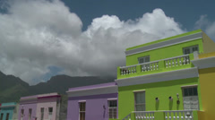 Colourful Bokaap with Table Mountain in background Stock Footage