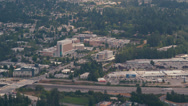 Stock Video Footage of Wide aerial shot of Totem Lake Mall and Evergreen Hospital Medical Center