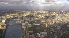 Panoramic aerial view above the city of London and the river thames - stock footage