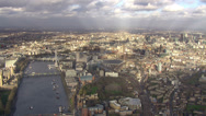 Panoramic aerial view above the city of London and the river thames Stock Footage