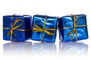 Stock Photo of three blue glossy  gift boxes