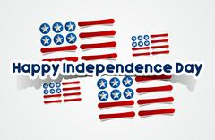 Happy USA Independence Day Card With Abstract Flag - stock illustration