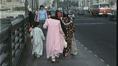 CAIRO EGYPT Women Cross Busy Street Scene 1970s Vintage 8mm Film Home Movie 7369 Stock Footage