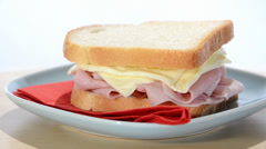 Ham and cheese sandwich Stock Footage