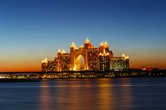 Night view atlantis hotel in dubai, uae Stock Photos