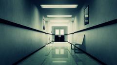4K Scary Hospital Corridor 2 Stock Footage