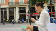 Stock Video Footage of Stylish businesswoman using mobile smart phone outdoor  HD