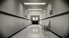 4K Scary Hospital Corridor 4 vintage Stock Footage