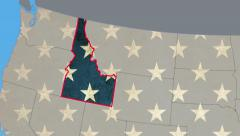 Idaho map pull out, flat USA map zoom in, all states available Stock Footage