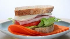 Ham, cheese and tomato sandwich Stock Footage