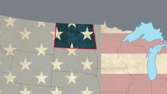 North Dakota pull out, smooth USA map, all states available - stock footage