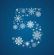 Number 5 font frosty snowflakes - stock illustration