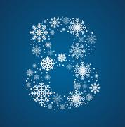 Number 8 font frosty snowflakes - stock illustration