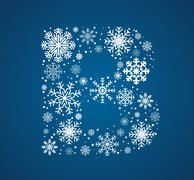 Letter B, font frosty snowflakes - stock illustration