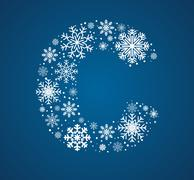Letter C,  font frosty snowflakes - stock illustration