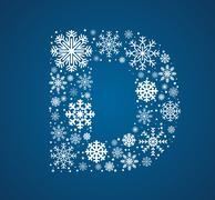 Letter D,  font frosty snowflakes - stock illustration