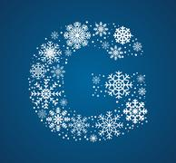 Stock Illustration of Letter G,  font frosty snowflakes