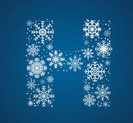 Letter H,  font frosty snowflakes - stock illustration