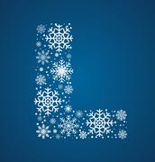 Letter L,  font frosty snowflakes - stock illustration