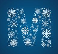 Letter M, font frosty snowflakes - stock illustration