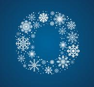 Letter O,  font frosty snowflakes - stock illustration