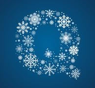 Letter Q, font frosty snowflakes - stock illustration