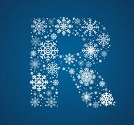 Letter R, font frosty snowflakes Stock Illustration