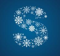 Letter S, font frosty snowflakes - stock illustration