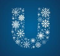 Letter U, font frosty snowflakes - stock illustration