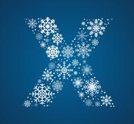 Letter X, font frosty snowflakes - stock illustration