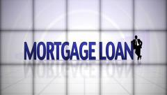 Mortgage Loan Text in Falling Cubes, with Green Screen, Loop Stock Footage