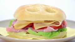 Ham and cheese focaccia Stock Footage