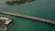 Stock Video Footage of Wide birdseye aerial shot panning across the MacArthur Causeway, revealing the