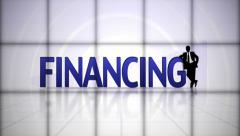 Financing Text in Falling Cubes, with Green Screen, Loop Stock Footage