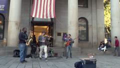 Band playing in front of Quincy Market in Boston Stock Footage