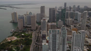 Stock Video Footage of Wide aerial shot following Collins Avenue past Bayfront Park while approaching