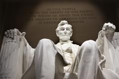 white lincoln statue close up memorial washington dc - stock photo