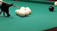 Sports game of billiards. billiard ball rolls on the table. Stock Footage