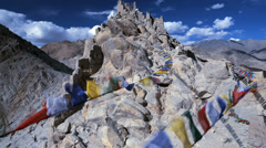 Time lapse view Prayer flags and ruins of Shey Place, Ladakh, India Stock Footage