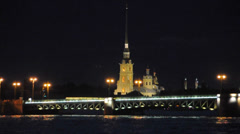 Peter and Paul fortress. St.Petersburg, Russia. White night. - stock footage