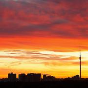 urban early morning sunrise - stock photo