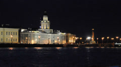 Kunstkamera and Rostral column. St.Petersburg, Russia. White night. Stock Footage