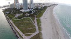 Aerial footage of South Beach condos Stock Footage