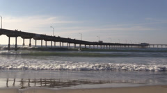 Surfers Next To Ocean Beach Pier 05 - stock footage