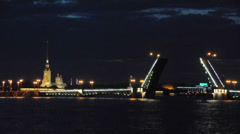 Peter and Paul fortress and Palace bridge. St.Petersburg, Russia. White night. Stock Footage