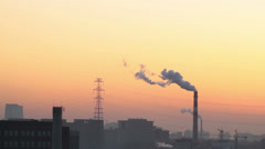 Smoking industry chimneys - stock footage